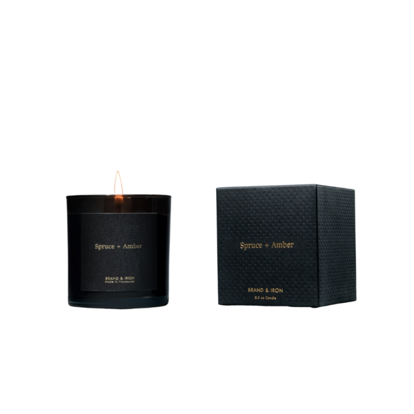 Brand + Iron Black Spruce + Amber Soy Candle