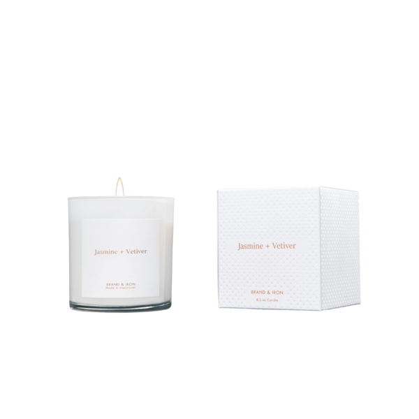 Brand + Iron White Jasmine + Vetiver Soy Candle