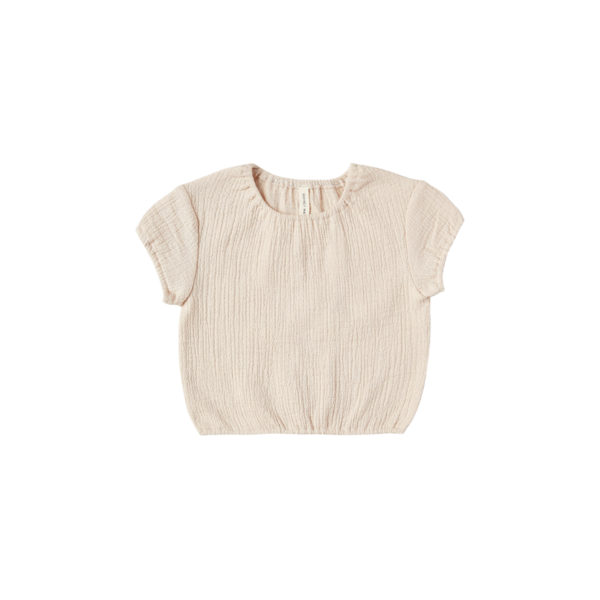 Quincy Mae Cinched Woven Tee - Natural