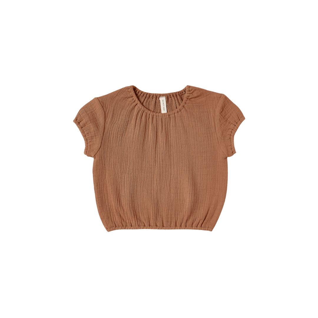 Quincy Mae Cinched Woven Tee - Rust