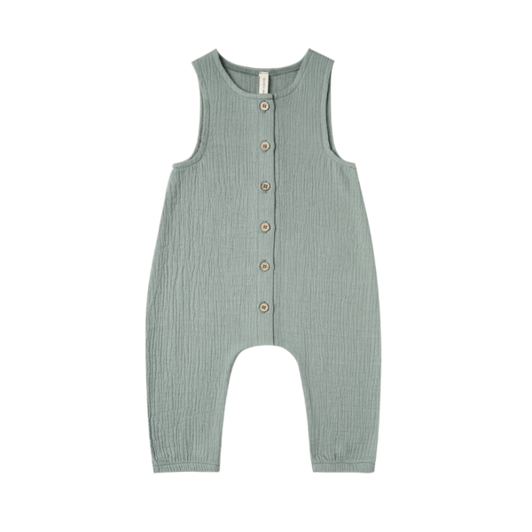 Quincy Mae Woven Snap Jumpsuit - Ocean
