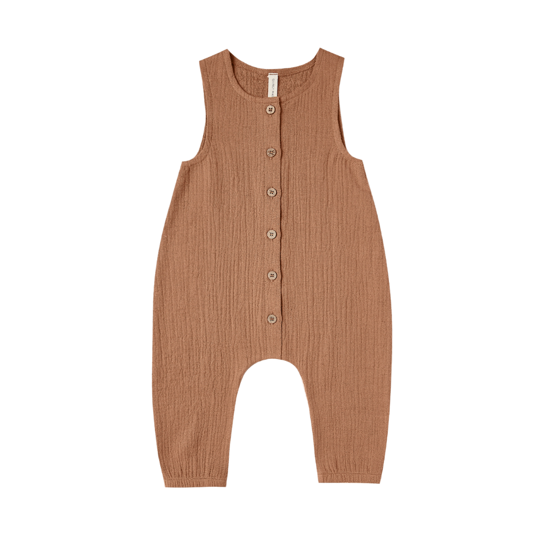 Quincy Mae Woven Snap Jumpsuit - Rust
