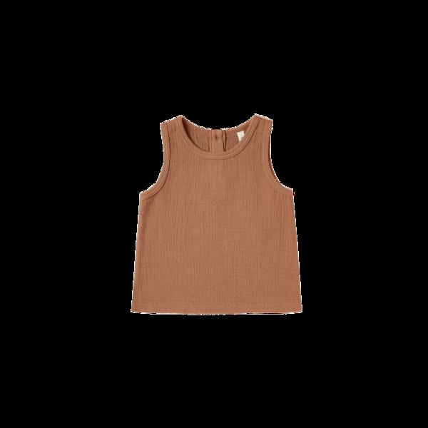 Quincy Mae Woven Tank - Rust