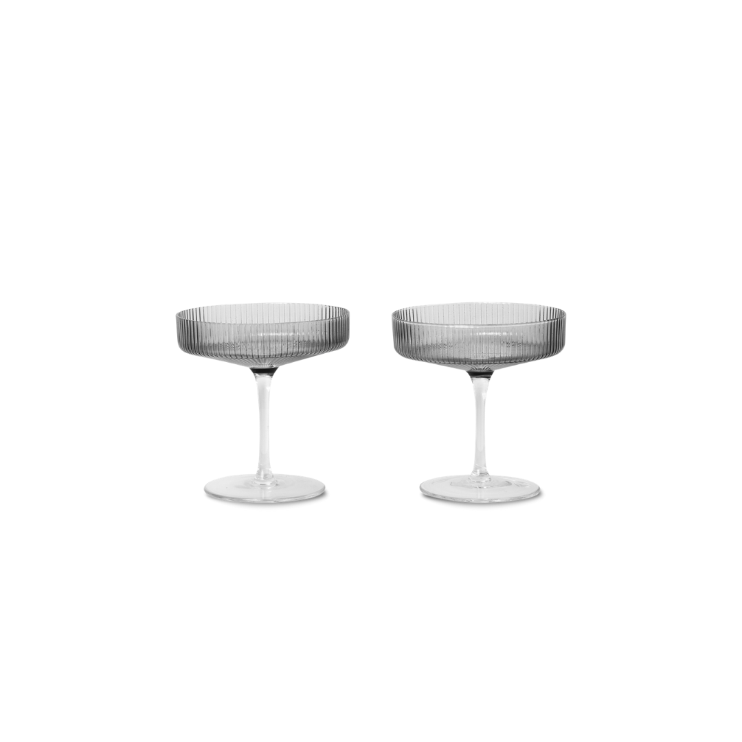 Ferm Living Ripple Champagne Saucers (Set of 2) - Smoked Grey