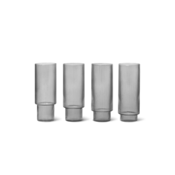 Ferm Living Ripple Long Drink Glasses (Set of 4) - Smoked Grey