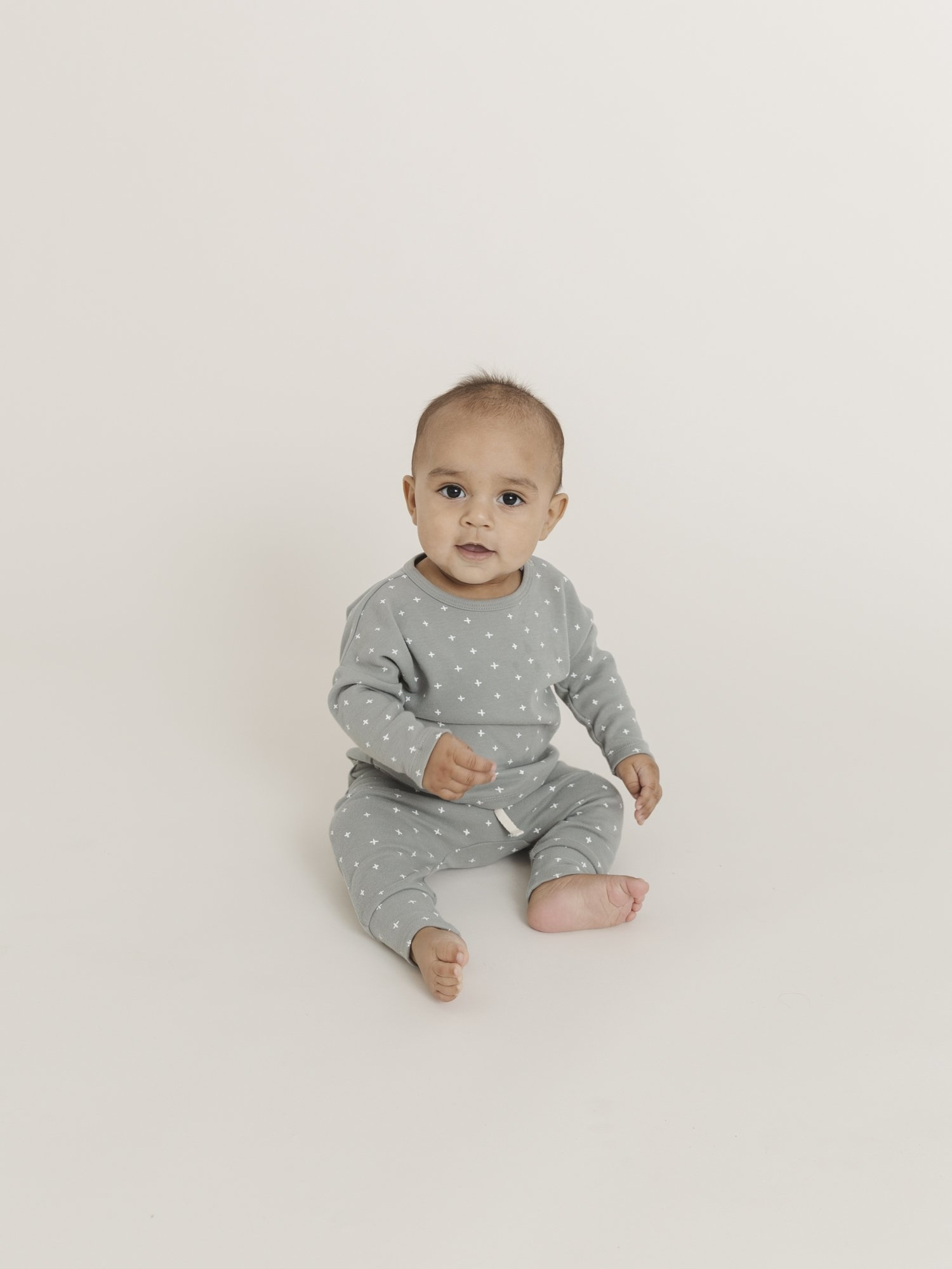 Quincy Mae Long Sleeve Baby Tee - Ocean
