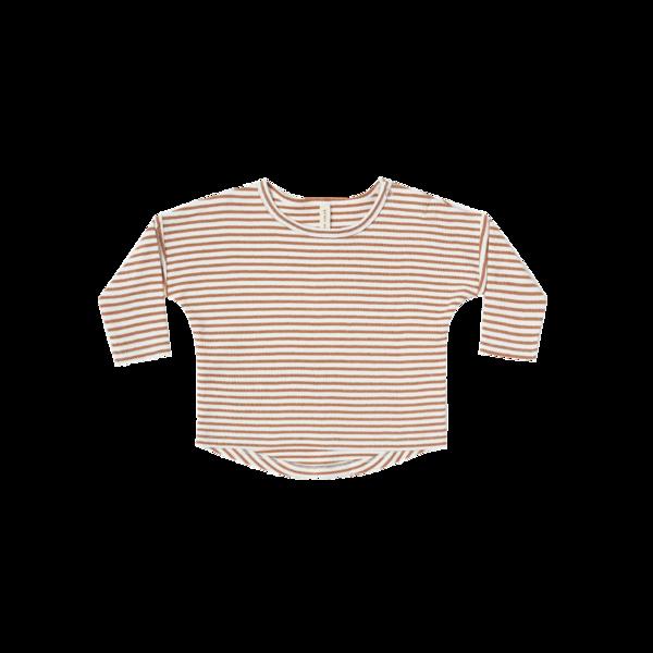 Quincy Mae Long Sleeve Baby Tee - Rust Stripe