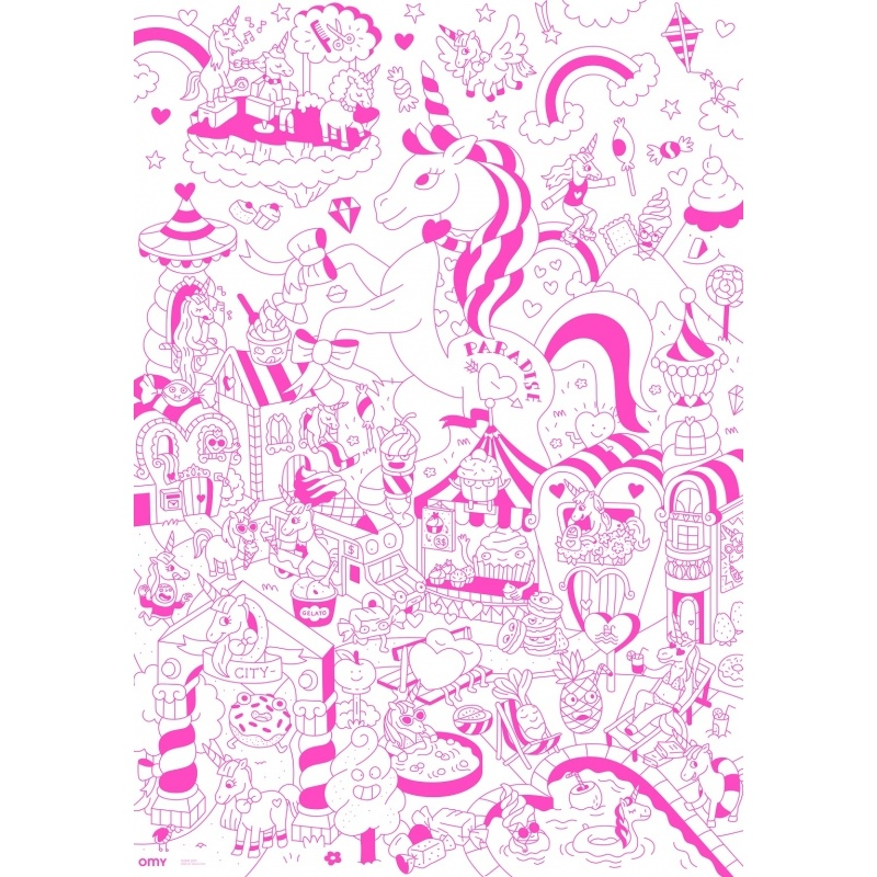 OMY Giant Colouring Poster - Lily Unicorn