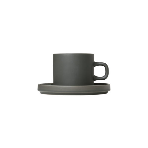 Blomus Mio Coffee Cups with Saucers - Set of 2 Agave Green