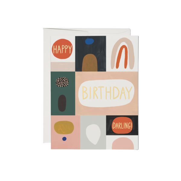 Red Cap Red Cap Greeting Cards Color Block Birthday