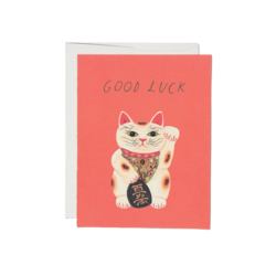 Red Cap Red Cap Greeting Cards Good Luck Kitty