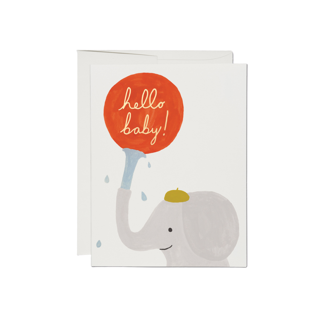Red Cap Greeting Card - Little Elephant