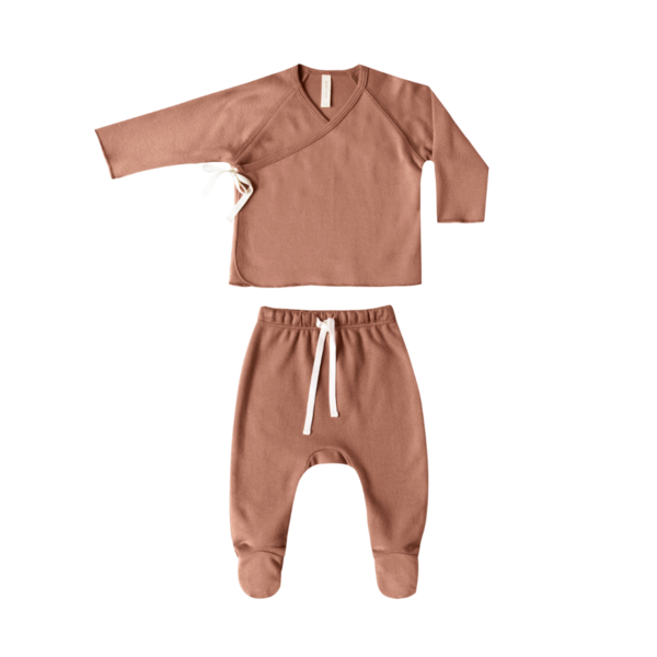 Quincy Mae Kimono Top & Footed Pant Set - Clay