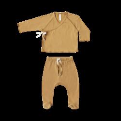Quincy Mae Kimono Top & Footed Pant Set - Honey