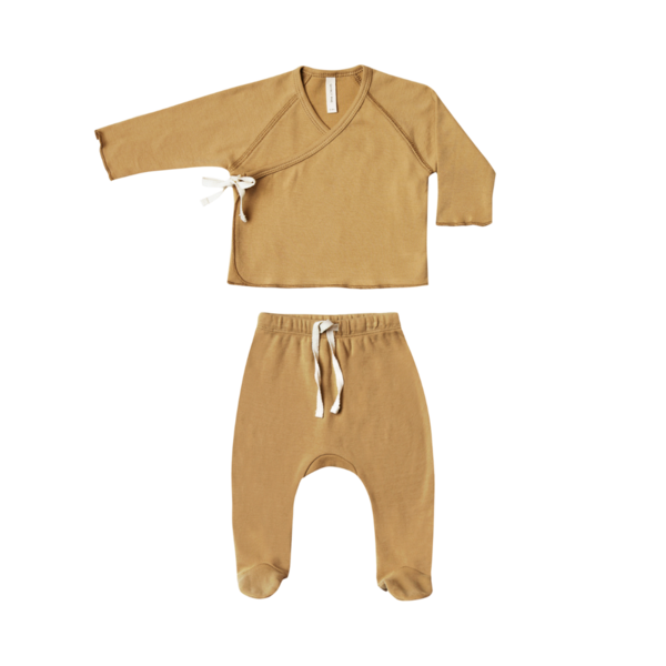 Quincy Mae Kimono Top & Footed Pant Set - Honey