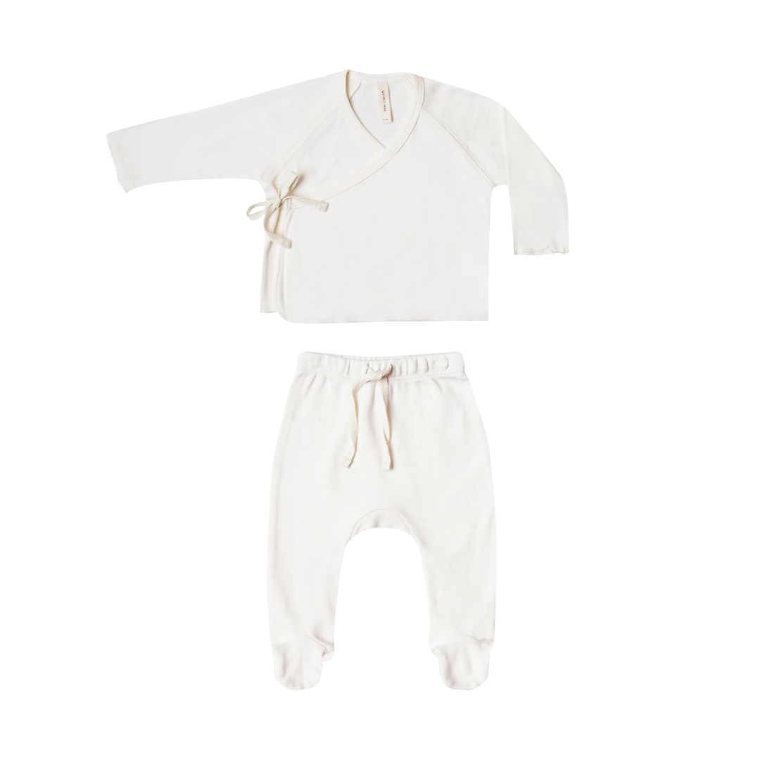 Quincy Mae Kimono Top & Footed Pant Set - Ivory
