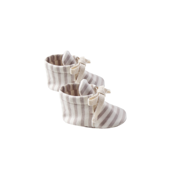 Quincy Mae Baby Booties - Fog Stripe