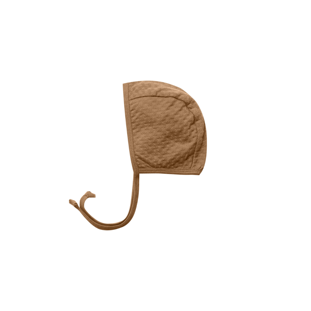 Quincy Mae Pointelle Baby Bonnet - Walnut