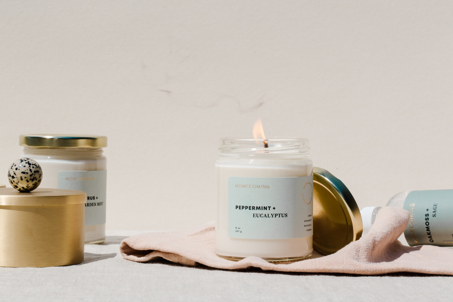 Homecoming Peppermint + Eucalyptus Soy Candle
