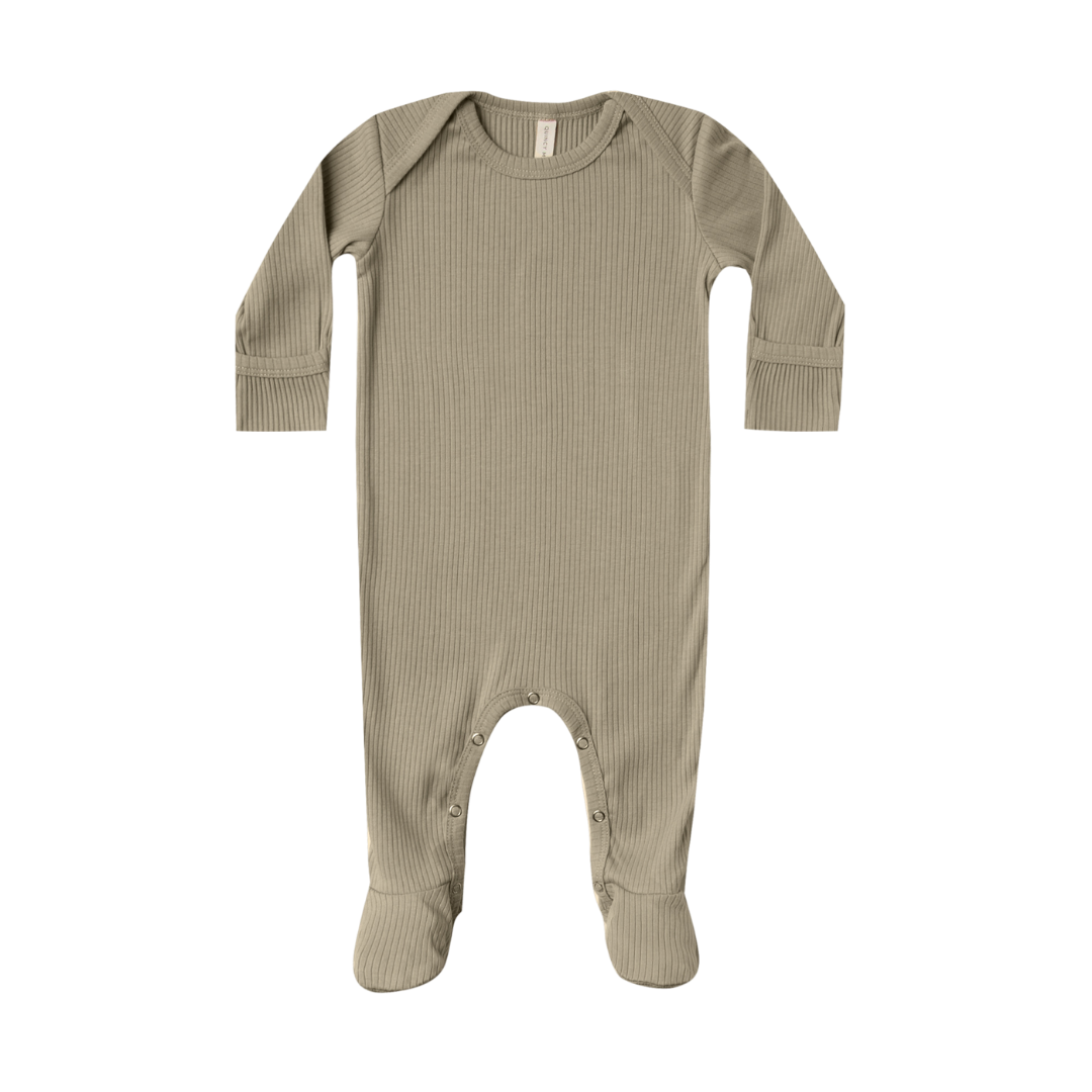 Quincy Mae Ribbed Footie - Olive