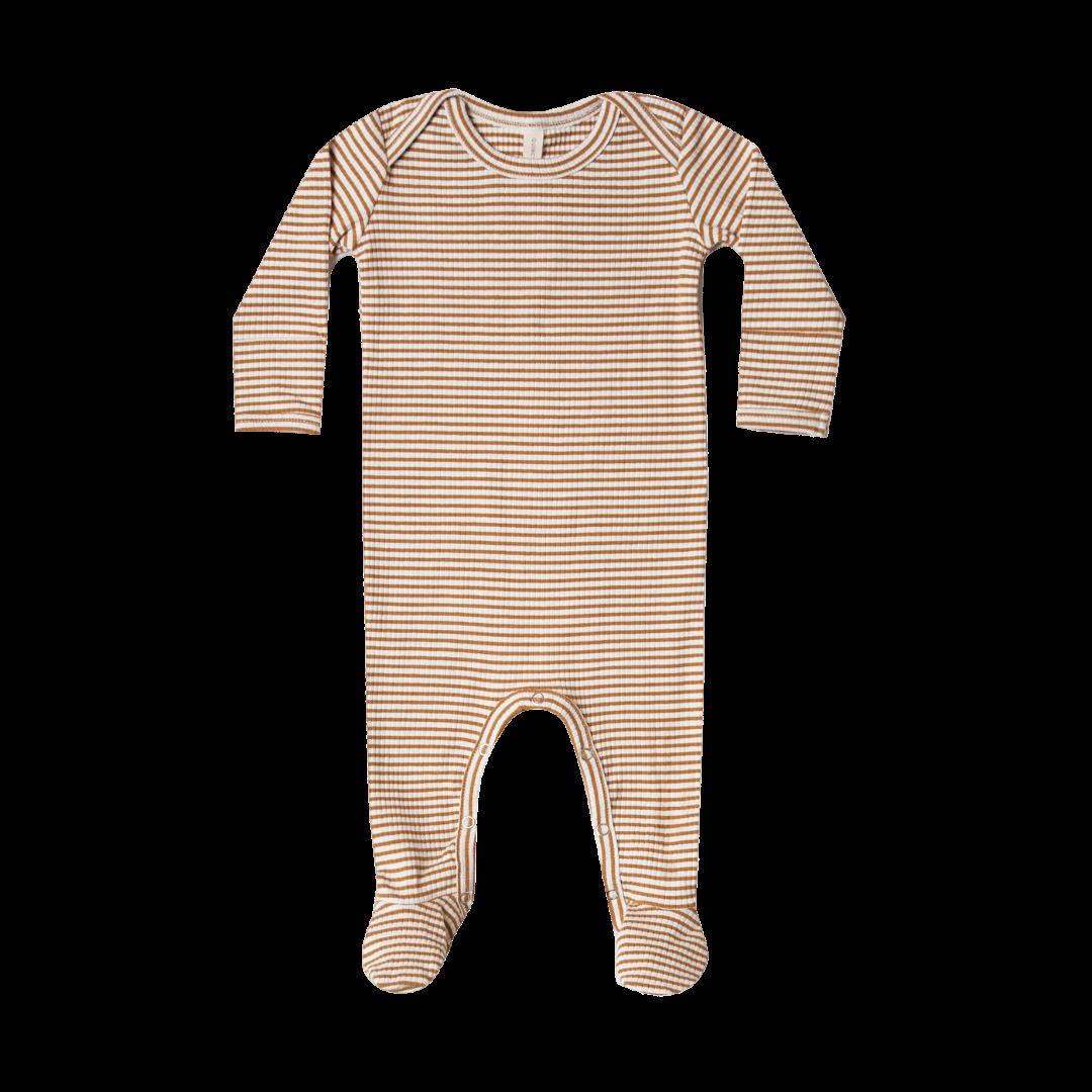Quincy Mae Ribbed Footie - Walnut Stripe