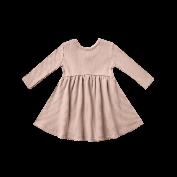 Quincy Mae Ribbed Longsleeve Dress - Petal
