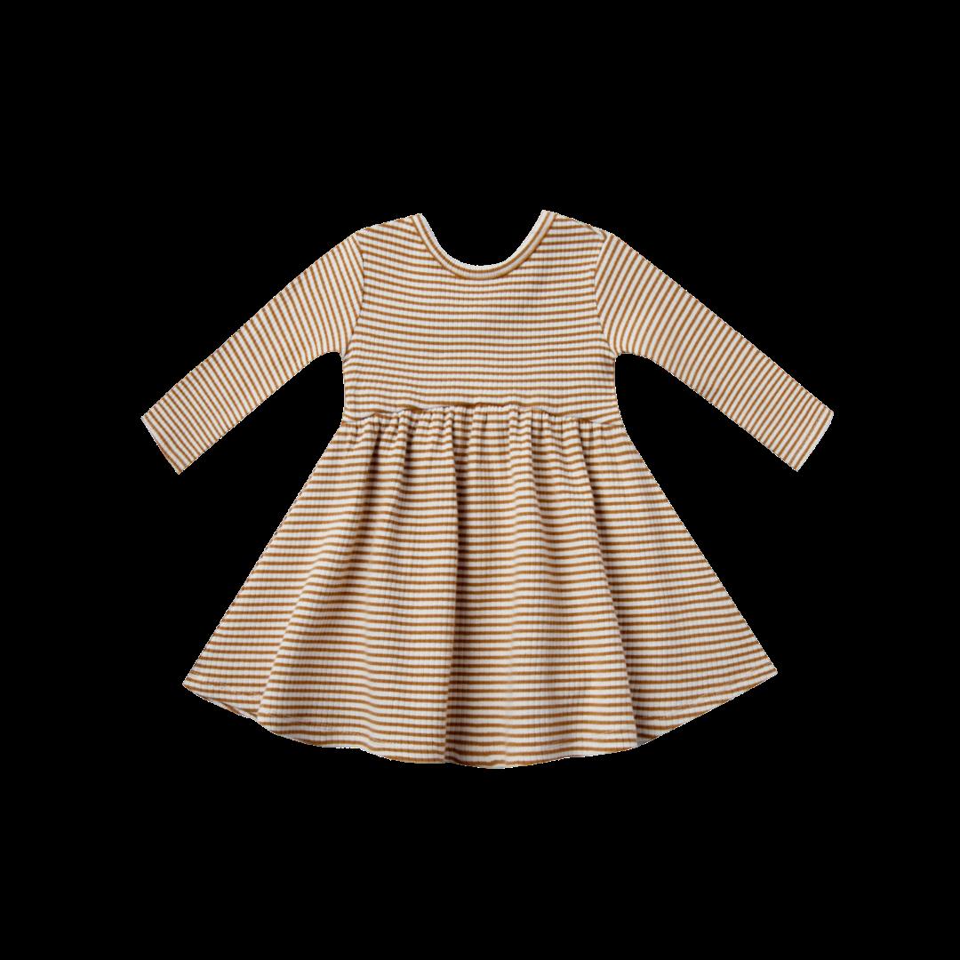 Quincy Mae Ribbed Longsleeve Dress - Walnut Stripe