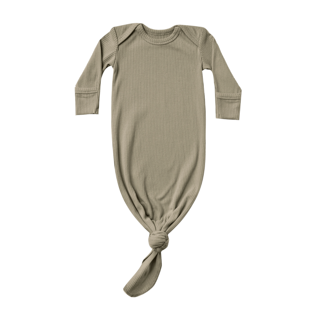 Quincy Mae Ribbed Knotted Baby Gown - Olive