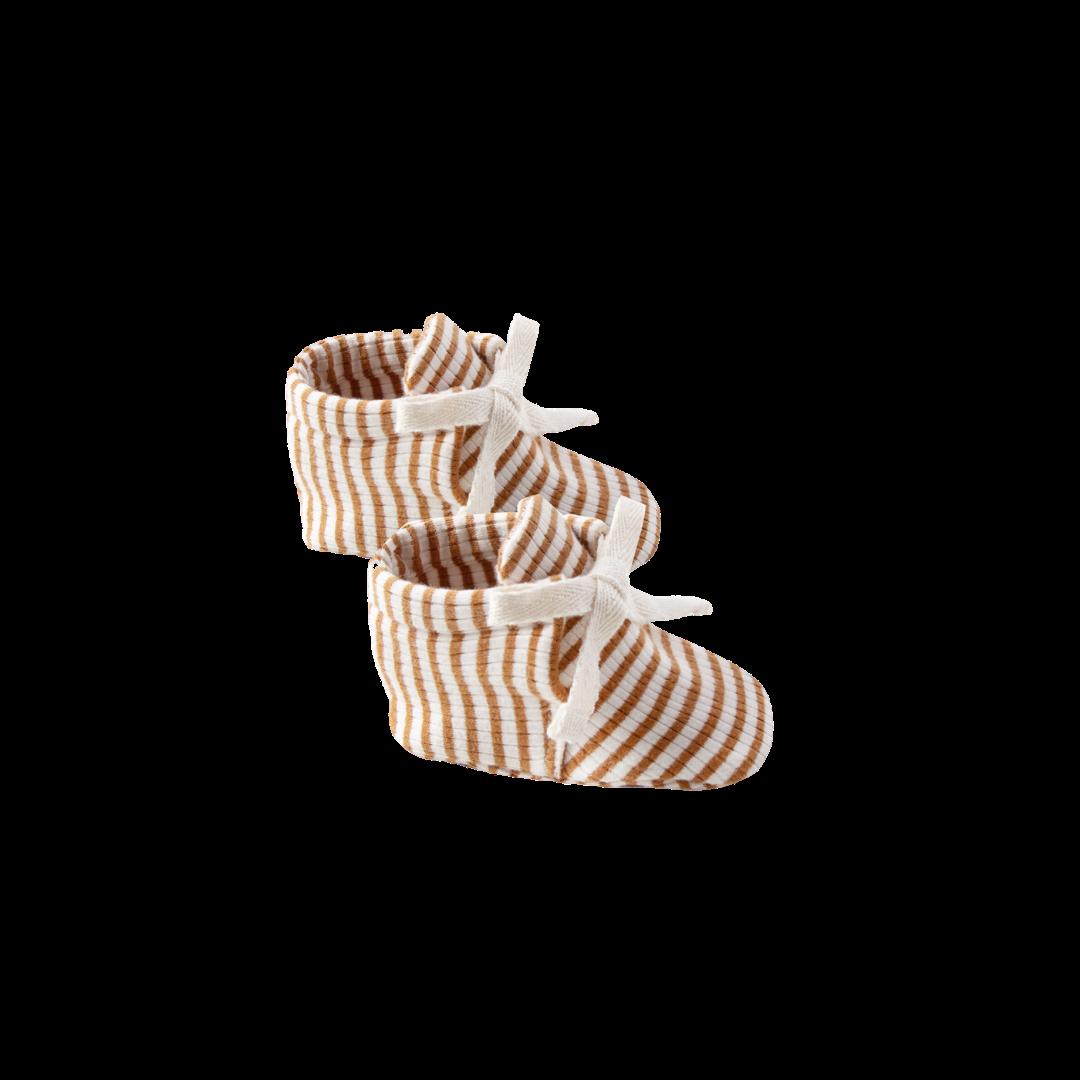 Quincy Mae Baby Booties - Walnut Stripe