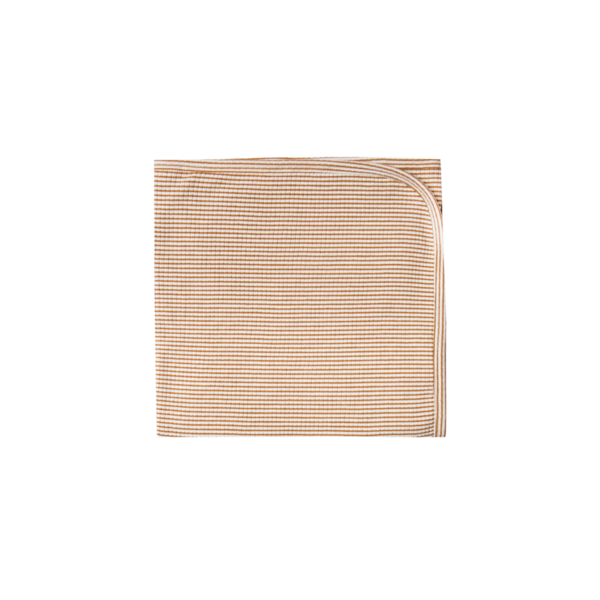 Quincy Mae Pointelle Baby Blanket - Walnut Stripe