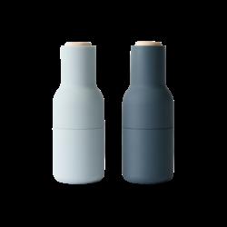 Menu Bottle Grinders - 2 Pack Blues w/ Beech Lid