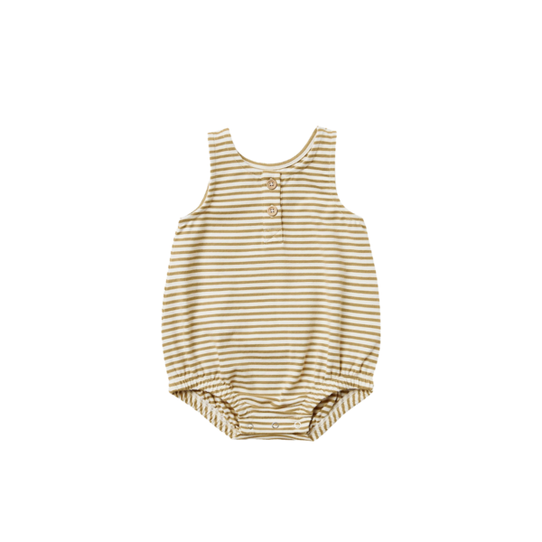 Quincy Mae Sleeveless Bubble Onesie - Gold Stripe