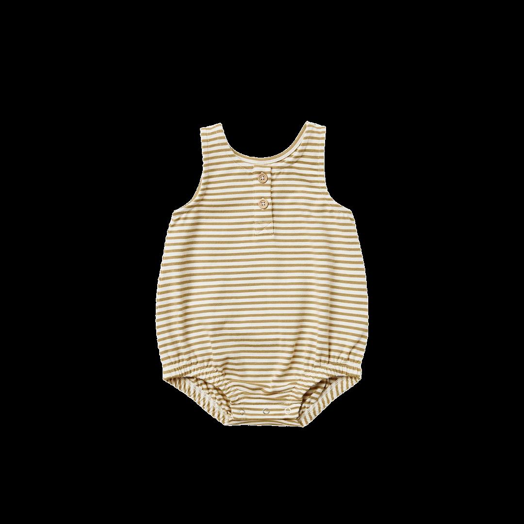 Quincy Mae Sleeveless Bubble Onesie - Gold Stripe