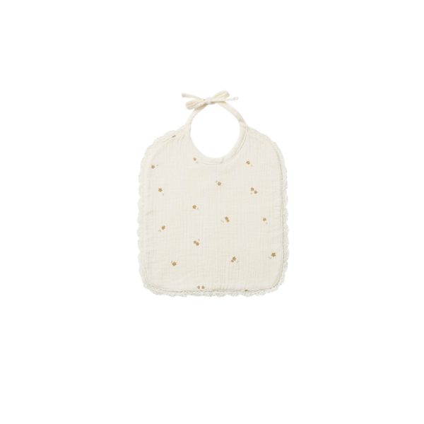 Quincy Mae Woven Tie Bib - Ivory