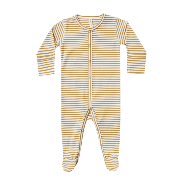 Quincy Mae Organic Full Snap Footie - Gold Stripe