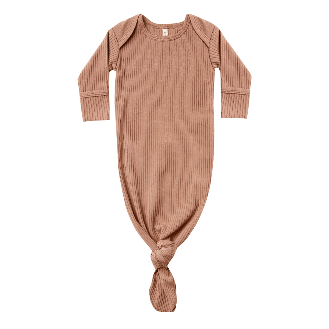 Quincy Mae Ribbed Knotted Baby Gown - Terracota