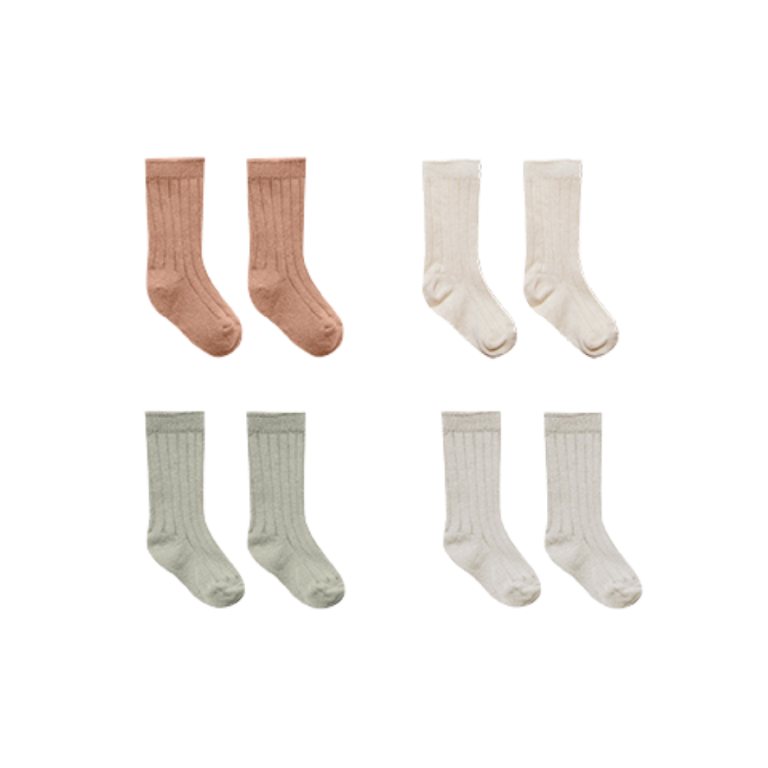 Quincy Mae Baby Socks - 4 Pack Terracotta/Natural/ Sage/ Ash