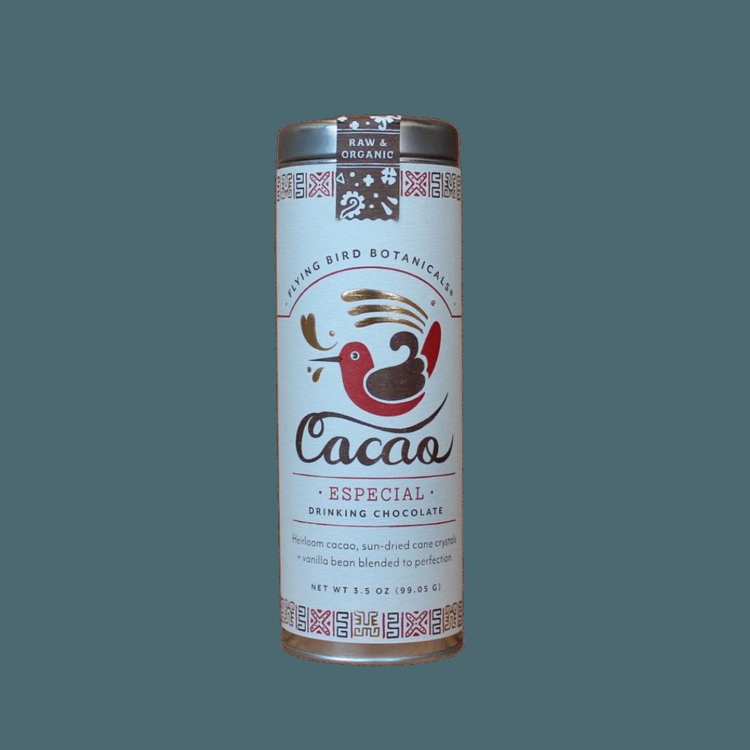 Flying Bird Botanicals Cacao Especial Organic Drinking Chocolate Large Tin