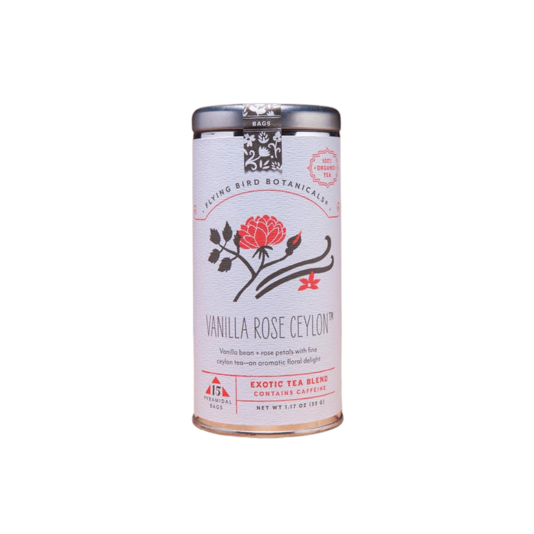 Flying Bird Botanicals Vanilla Rose Ceylon Organic Tea Tin - 15 bags