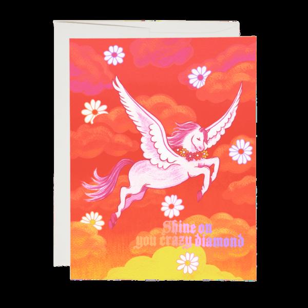 Red Cap Shine On Pegasus Greeting Card