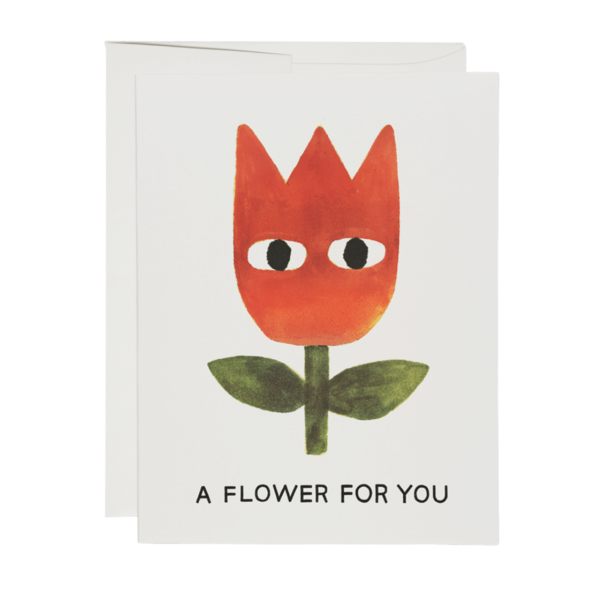 Red Cap A Flower Greeting Card