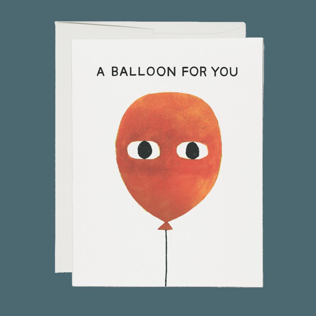 Red Cap A Balloon Greeting Card