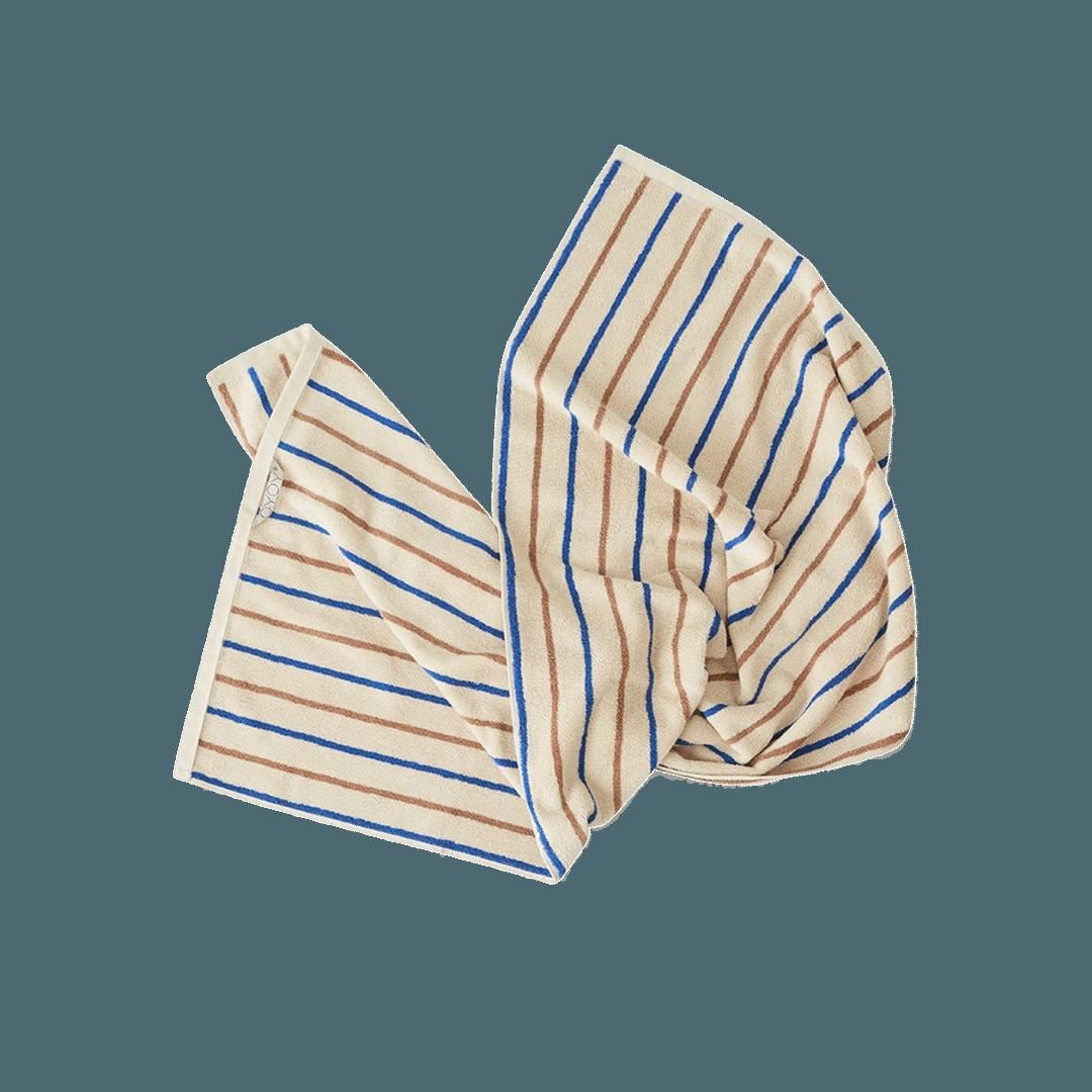 OYOY Living Design Raita Organic Cotton Towel Caramel/Optic Blue - Small