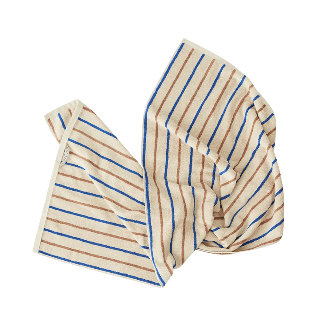 OYOY Living Design Raita Organic Cotton Towel Caramel/Optic Blue - Medium