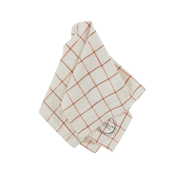 OYOY Living Design Grid Slub Napkin Set of 2 - Offwhite/Red