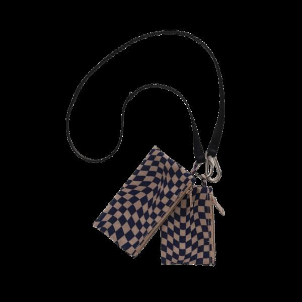 Baggu Lanyard Pouch Set - Indigo Trippy Checker