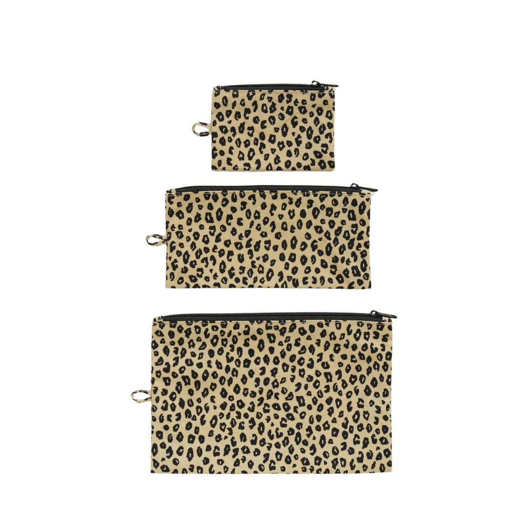 Baggu Flat Pouch Set - Honey Leopard