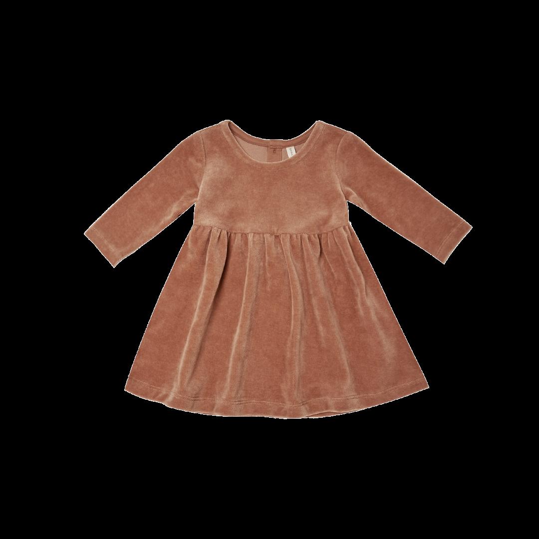 Quincy Mae Zip Velour Longsleeve Dress - Clay