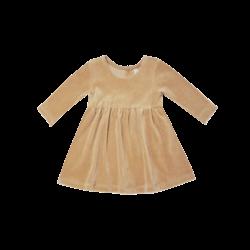 Quincy Mae Zip Velour Longsleeve Dress - Honey