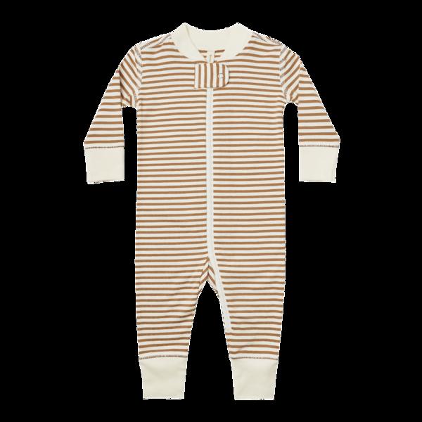 Quincy Mae Zip Longsleeve Sleeper - Walnut Stripe